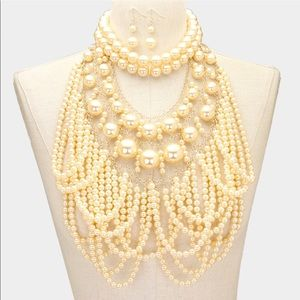 Chunky Cream 2 pc Pearl Necklace Set